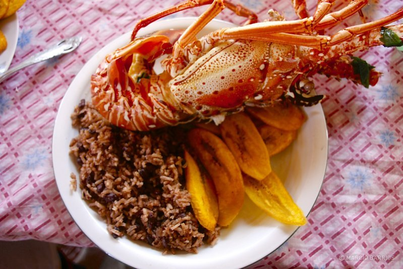 A fresh lobster with red beans and rice, and tajadas - Made in Honduras, pictures of an ...