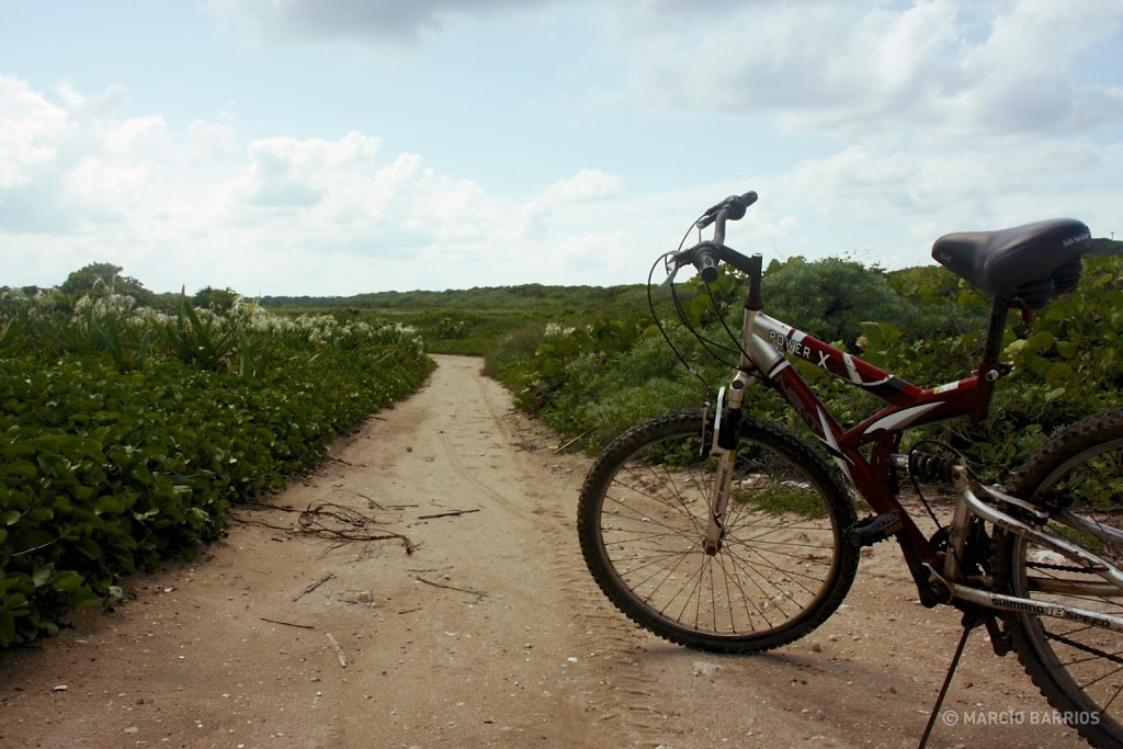 Biking around Utila