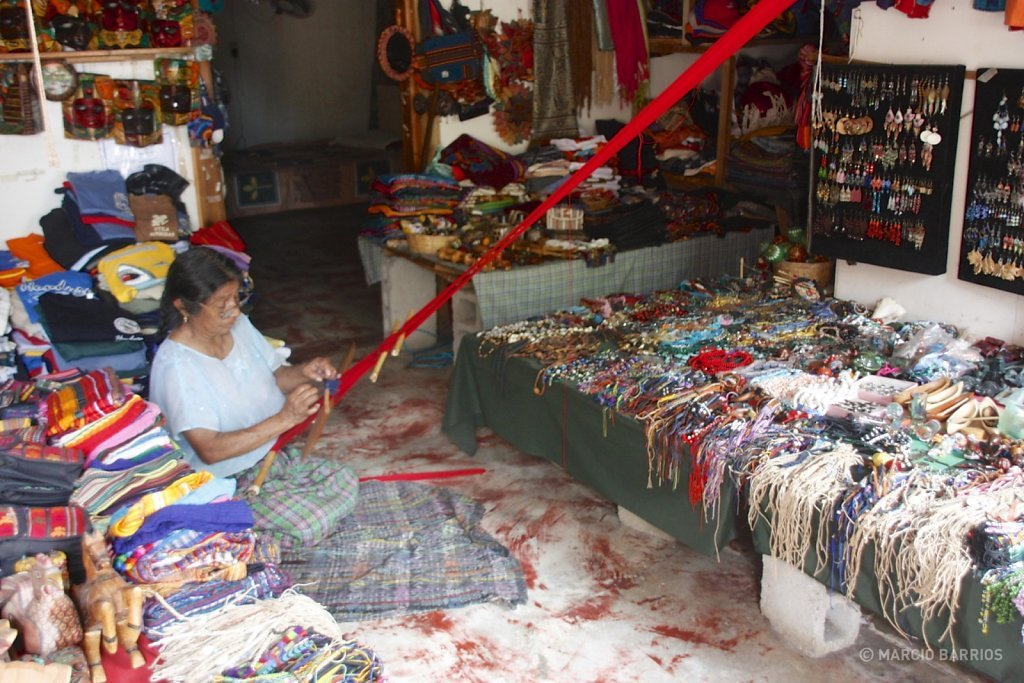 Utila woman weaving in her shop