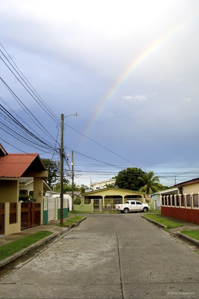 Rainbow in a residential area, La Ceiba